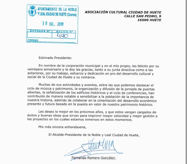 Carta de felicitación por el XX Aniversario